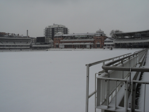 pavilion in snow