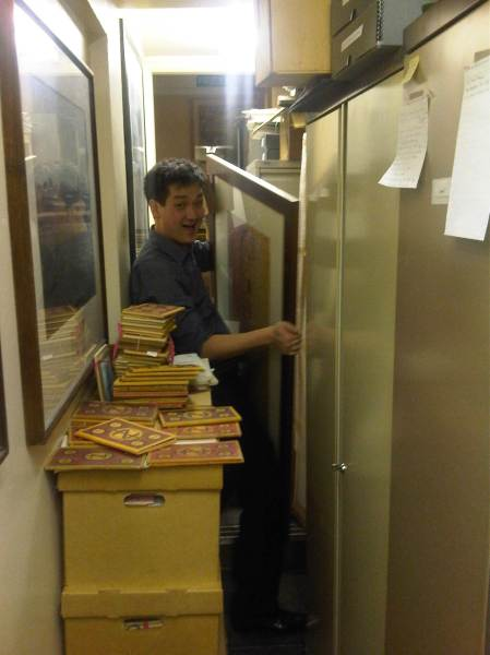 Andrew, my fellow librarian.  We formed a life long bond working together for the first few months crammed into a long narrow windowless corridor full of cardboard boxes of unsorted uncatalgued annuals.