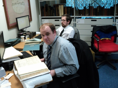 Rob at work with Alan the other archivist.