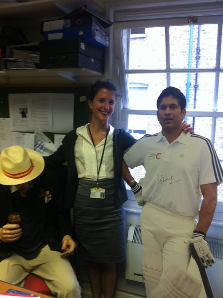Rowan, a former archivist who knew absolutely nothing about cricket.  So little that when we were once taling about where to put the model of Sachin Tendulkar she thought we were refering to the man to her right wearing the hat!